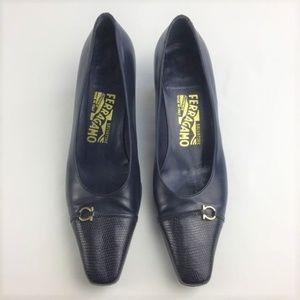 Salvatore Ferragamo Shoes - • Salvatore Ferragamo Navy Blue Low Heel Shoe